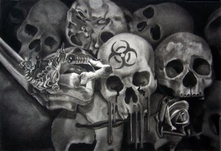 Minh Hang Artwork Tattoo skulls, 2009 Charcoal Drawing, Surrealism