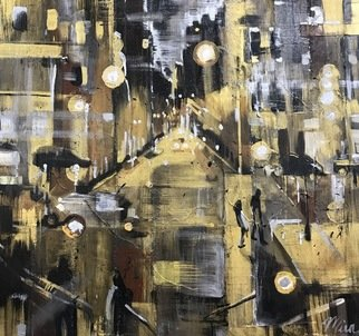 Mira Vitarello: 'streets of gold', 2018 Mixed Media, Abstract. Artist Description: Gold and silver highlights an abstaction of NYC ...