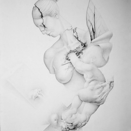 Mirko Sevic Artwork Stillness Mother and children, 2016 Pencil Drawing, Christian