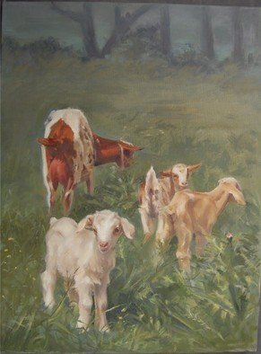 Abigail Rhodes: 'Goat family', 2009 Oil Painting, Animals.