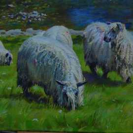 Abigail Rhodes Artwork Wensleydales on the Wharfe, 2008 Oil Painting, Animals