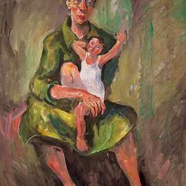 Hari Mitrushi: 'Mother and Child', 2002 Oil Painting, Figurative. Artist Description:  This is a painting who I made when our first child was born. ...