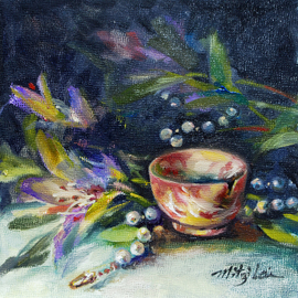 Mitzi Lai: 'A perfect Agate Cup', 2011 Oil Painting, Still Life. Artist Description:     Oil Painting, still life, cup, pearl necklace, Mitzi Lai, cup, blue flower, mother' s day, gift,  ...