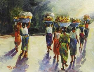 Mitzi Lai: 'Market Day', 2012 Oil Painting, Figurative.       Oil Painting, female, market, blessing, religious, active figure, peace, Mitzi Lai, Africa, African Ladies, Islander, Island ladies, working females, illusion, girl sitting    ...
