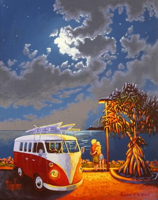 Michael Jones: 'Romance of the Stoned', 2014 Acrylic Painting, Holidays. Artist Description:          Retro caravan series, Bill and Sheila on holidays.         ...