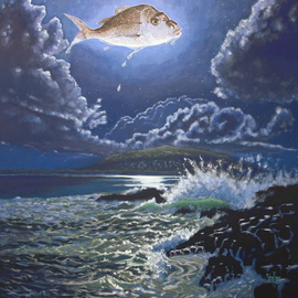 Michael Jones: 'Snapper Moon', 2014 Acrylic Painting, Seascape. Artist Description:     Moon series       ...