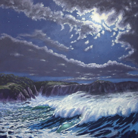 Michael Jones: 'Storm Surge', 2014 Acrylic Painting, Seascape. Artist Description:    Moon series         ...