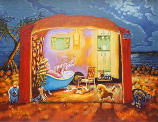 Michael Jones: 'The Girls Night In', 2014 Acrylic Painting, Holidays. Artist Description:         Retro caravan series, Bill and Sheila on holidays.        ...