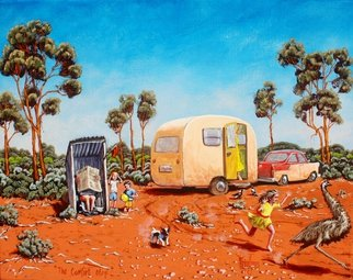 Michael Jones: 'The comfort Stop', 2014 Acrylic Painting, Holidays. Artist Description:      Retro caravan series, Bill and Sheila on holidays.     ...
