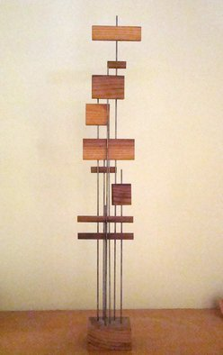 Mrs. Mathew Sumich: 'Family 7', 1960 Wood Sculpture, Minimalism. Artist Description:  narrow wood 'slats' on metal rods secured into wooden base - natural stain finish  ...