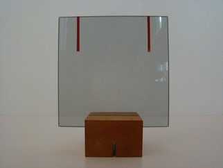 Mrs. Mathew Sumich: 'Glass With Red Lines', 2009 Glass Sculpture, Minimalism. Artist Description:  smoke glass with applied red adhesive, on wooden base, for table top  ...