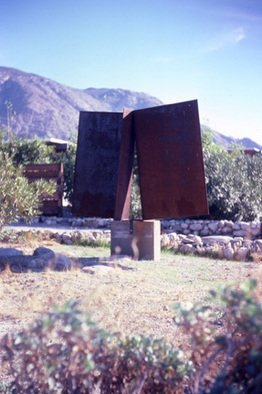 Mrs. Mathew Sumich: 'Metal Wings', 1985 Steel Sculpture, Abstract. large metal rectangles on solid base, natural patina. ...