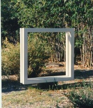 Mrs. Mathew Sumich: 'White Square', 1972 Steel Sculpture, Abstract. parrallel and connected white painted tube steel squares...