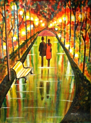 Artist: Manjiri Kanvinde - Title: A Rainy Day III - Medium: Acrylic Painting - Year: 2010