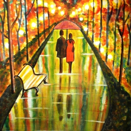 Manjiri Kanvinde: 'A Rainy Day III', 2010 Acrylic Painting, Love. Artist Description:  This is the latest artwork from a series of my romantic paintings titled' A Rainy Day' . All the earlier paintings in this series are sold.This is a romantic painting of a couple walking in the park.Title~ A RAINY DAY IIIMedium~ Acrylic on watercolor ...
