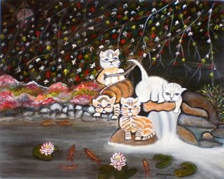 Manjiri Kanvinde: 'Cats in the Wild II', 2012 Acrylic Painting, Animals.   Painting: Acrylic and WatercolorSize: 16 H x 20 W x 0. 1 inMedium: Acrylic on canvasSize: 20 x 16 inches ...