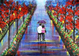 Manjiri Kanvinde: 'Love Blossoms Original romantic painting', 2015 Acrylic Painting, Love.  Romantic landscape painting of a couple in the rain. Color blue is known to create a peaceful and surreal ambiance. This painting will surely lift your mood. Excellent gift for your loved ones.Medium: Acrylic on paperSize: 16. 5 x 23. 4 inchesTracking number will be provided after...