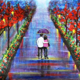 Manjiri Kanvinde: 'Love Blossoms Original romantic painting', 2015 Acrylic Painting, Love. Artist Description:  Romantic landscape painting of a couple in the rain. Color blue is known to create a peaceful and surreal ambiance. This painting will surely lift your mood. Excellent gift for your loved ones.Medium: Acrylic on paperSize: 16. 5 x 23. 4 inchesTracking number will be ...