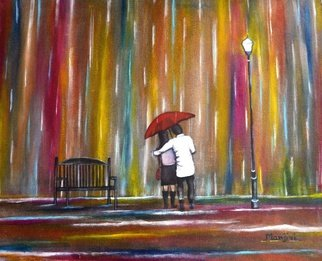 Manjiri Kanvinde: 'Love in the Rain', 2012 Acrylic Painting, Love.  Painting: Acrylic on Canvas and Paper.Size: 16 H x 20 W x 0. 1 inLove is a moment that lasts forever. . .Romantic painting of a couple in the rain.Medium: Acrylic on canvasSize: 20 x 16 inches ...