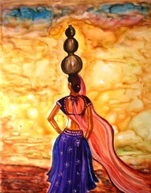 Artist: Manjiri Kanvinde - Title: Rajasthani Lady Allure - Medium: Acrylic Painting - Year: 2010