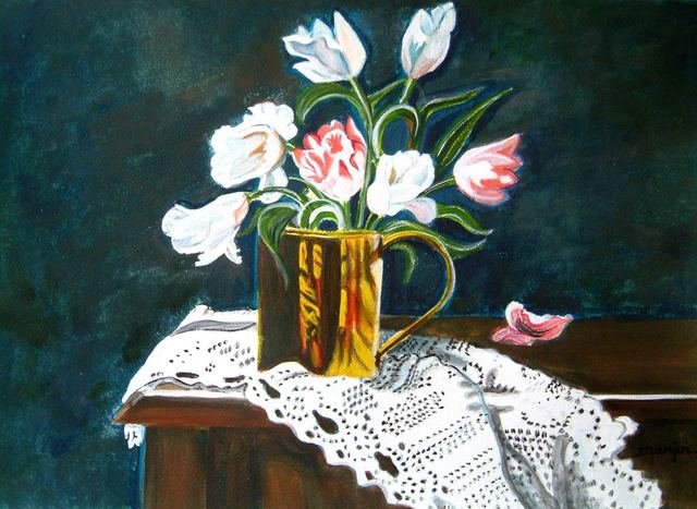 Manjiri Kanvinde  'Still Life Tulips', created in 2008, Original Painting Other.
