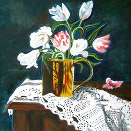 Manjiri Kanvinde: 'Still Life Tulips', 2008 Acrylic Painting, Still Life. Artist Description:   his is a original painting not a print. Gorgeous Tulips in a brass jar delicately placed on a lace cloth.Size: 11 3/ 4