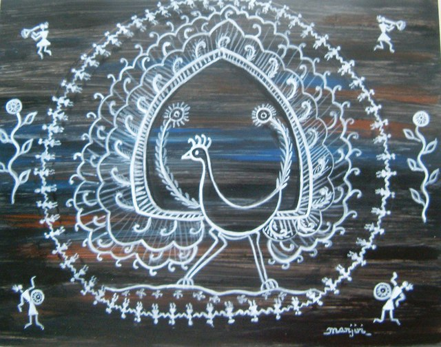 Artist Manjiri Kanvinde. 'Warli Peacock Painting' Artwork Image, Created in 2012, Original Painting Other. #art #artist
