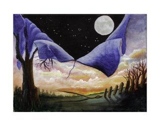 Martha Johnson: 'At the Crack of Dawn, Night Fell', 2014 Acrylic Painting, Surrealism.  Landscape showing crack of dawn with night falling! ...