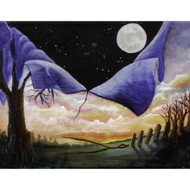 Martha Johnson: 'At the Crack of Dawn, Night Fell', 2014 Acrylic Painting, Surrealism. Artist Description:  Landscape showing crack of dawn with night falling! ...