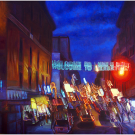 Michael Todd Longhofer: 'Warped Turf', 2009 Oil Painting, Cityscape. Artist Description:  Little Italy in New York Distortion SeriesMafia Parking Only baby! ...