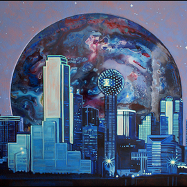 Michael Todd Longhofer: 'midnight metro', 2011 Acrylic Painting, Cityscape. Artist Description:  Piece finally finished. . . wew. . . . now I need stronger glasses. Description: I started with a botched abstract. Then an elipse was drawn. The surface area outside the circle was built up with texture. Resin was poured in the circle. The skyline was then drawn. Skyline was masked and sanded ...