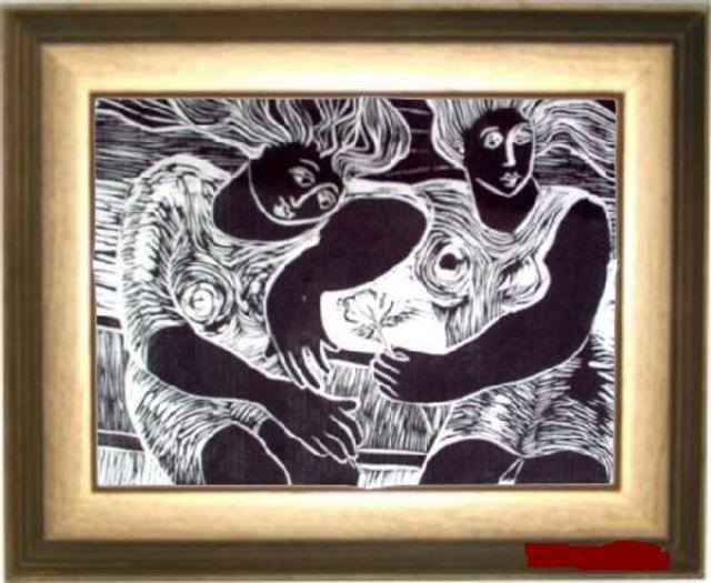 Maria Lucia Pacheco  'Comadres', created in 2007, Original Printmaking Woodcut.