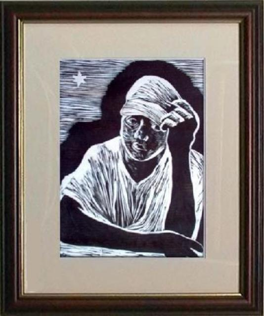 Maria Lucia Pacheco  'Mirinho', created in 2007, Original Printmaking Woodcut.