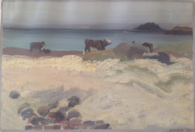 Michelle Mendez  'Cows Grazing On Seaweed', created in 1990, Original Printmaking Monoprint.