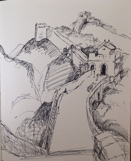 Michelle Mendez  'Great Wall Of China Badaling', created in 2006, Original Printmaking Monoprint.