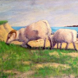 Lambs Grazing By Michelle Mendez
