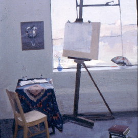 Michelle Mendez: 'Studio', 1990 Oil Painting, Interior. Artist Description:  Painting of my studio. On permenant loan and I'd like to have it back.       ...
