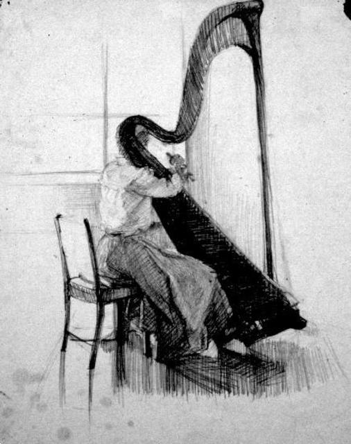 Michelle Mendez  'The Harpist', created in 1983, Original Printmaking Monoprint.
