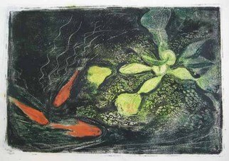 Michelle Mendez: 'Water Hyacinth 3 Goldfish', 2008 Monoprint, Botanical. 3 goldfish and water hyacinth from sketches done at the Wellesley College greenhouse, printed on rice paper, 1 print only, inspired by Asian printmaking theme...