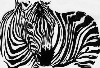 Maria Changalidi: 'Zebra', 2013 Pen Drawing, Animals. Artist Description: Originally an electric blue felt pen and napkin doodle, now a beautiful print, with additional sizes available upon request. ...