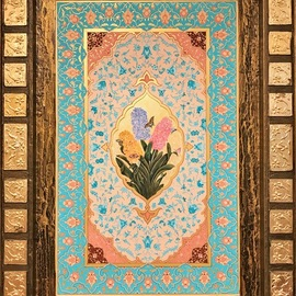Mohammad Khazaei: 'persian painting', 2017 Other Painting, Floral. Artist Description: Gilding currently means to draw beautiful patterns of plants or geometrical shapes on the margins of books. At the beginning, golden color was used in this art and this is why they called it aEURoetazhibaEUR  gilding . Other colors like azure, blue, green, vermilion, and turquoise have also been ...