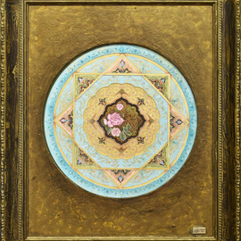 Mohammad Khazaei: 'shamse', 2014 Other Painting, Mandala. Artist Description: Gilding currently means to draw beautiful patterns of plants or geometrical shapes on the margins of books. At the beginning, golden color was used in this art and this is why they called it aEURoetazhibaEUR  gilding . Other colors like azure, blue, green, vermilion, and turquoise have also been ...