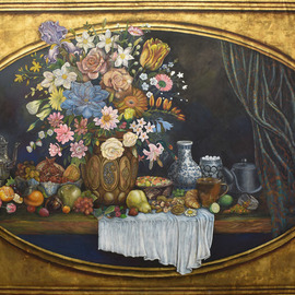 Mohammad Khazaei: 'still life', 2015 Acrylic Painting, Still Life. Artist Description: I started this painting on March 2015 and finished in August , every day work without any Holiday,around 6 months hard work, ...