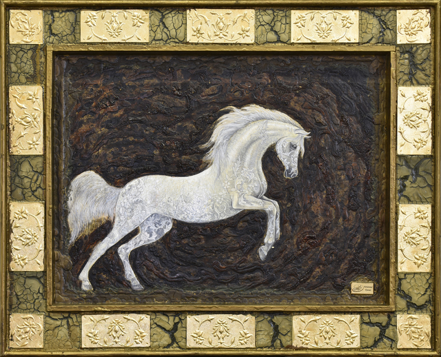 Mohammad Khazaei  'White Arab Horse', created in 2015, Original Painting Acrylic.