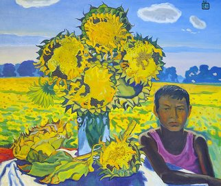 Moesey Li: 'A boy and sunflowers', 1993 Oil Painting, Children. Artist Description: realism, genre painting, boy, sunflowers, field, sky...