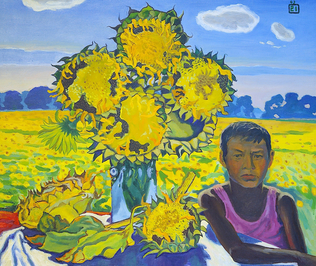 Moesey Li  'A Boy And Sunflowers', created in 1993, Original Painting Oil.