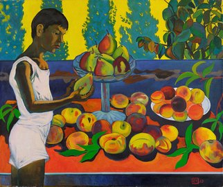 Moesey Li: 'A boy with a pear', 1993 Oil Painting, Children. Artist Description: realism, genre painting, boy, table, peaches, pears...