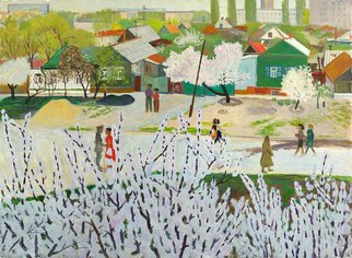 Moesey Li: 'A day in May', 1980 Oil Painting, Seasons. realism, landscape, spring, trees, people, May, day...