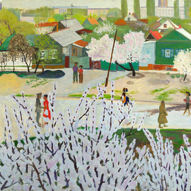 Moesey Li: 'A day in May', 1980 Oil Painting, Seasons. Artist Description: realism, landscape, spring, trees, people, May, day...