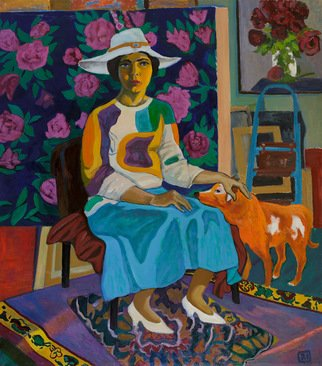 Moesey Li: 'A lady with a red dog ', 2015 Oil Painting, Portrait. Artist Description: realism, portrait, lady, dog, carpet, painting...